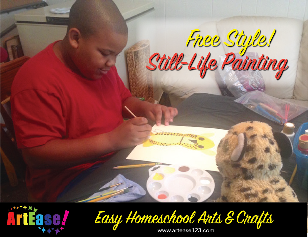 Easy Homeschool Arts & Crafts-Xander Painting Still Life Stuffed Animal Kazmond