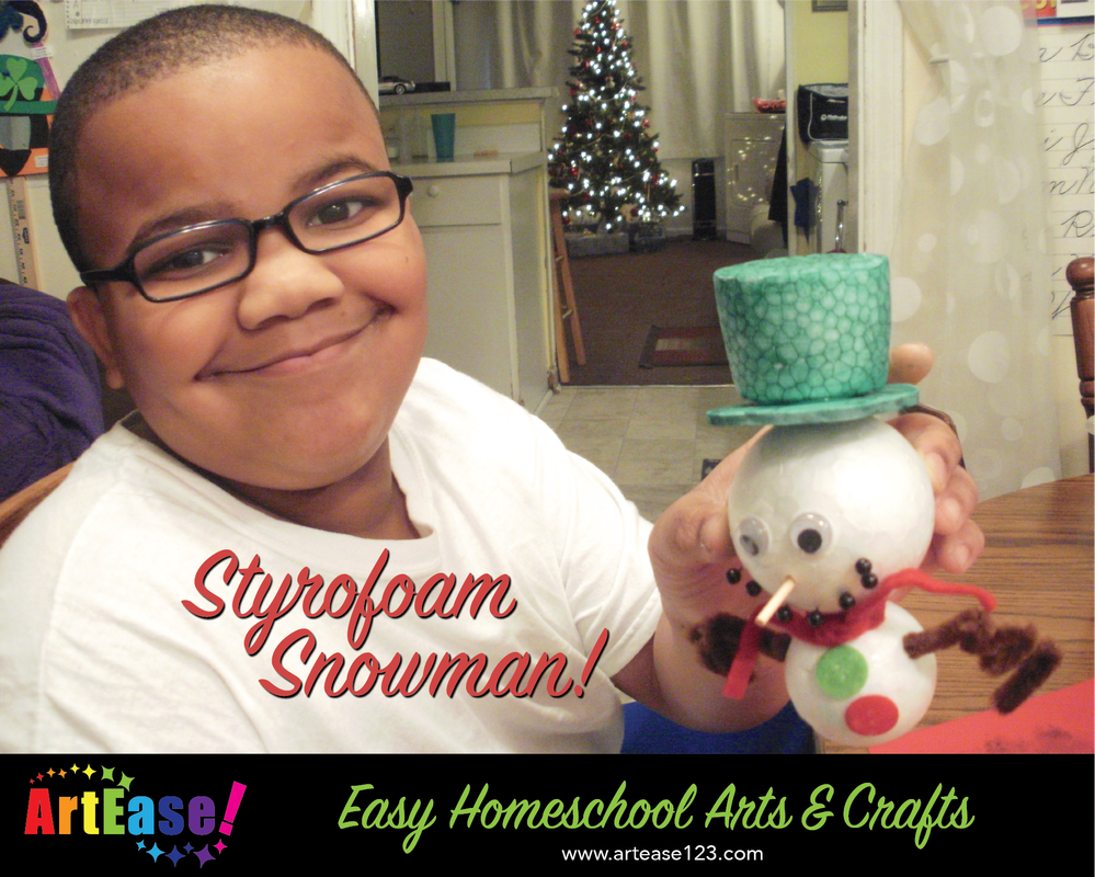 Easy Homeschool Arts & Crafts-Xander Styrofoam Snowman Christmas Art